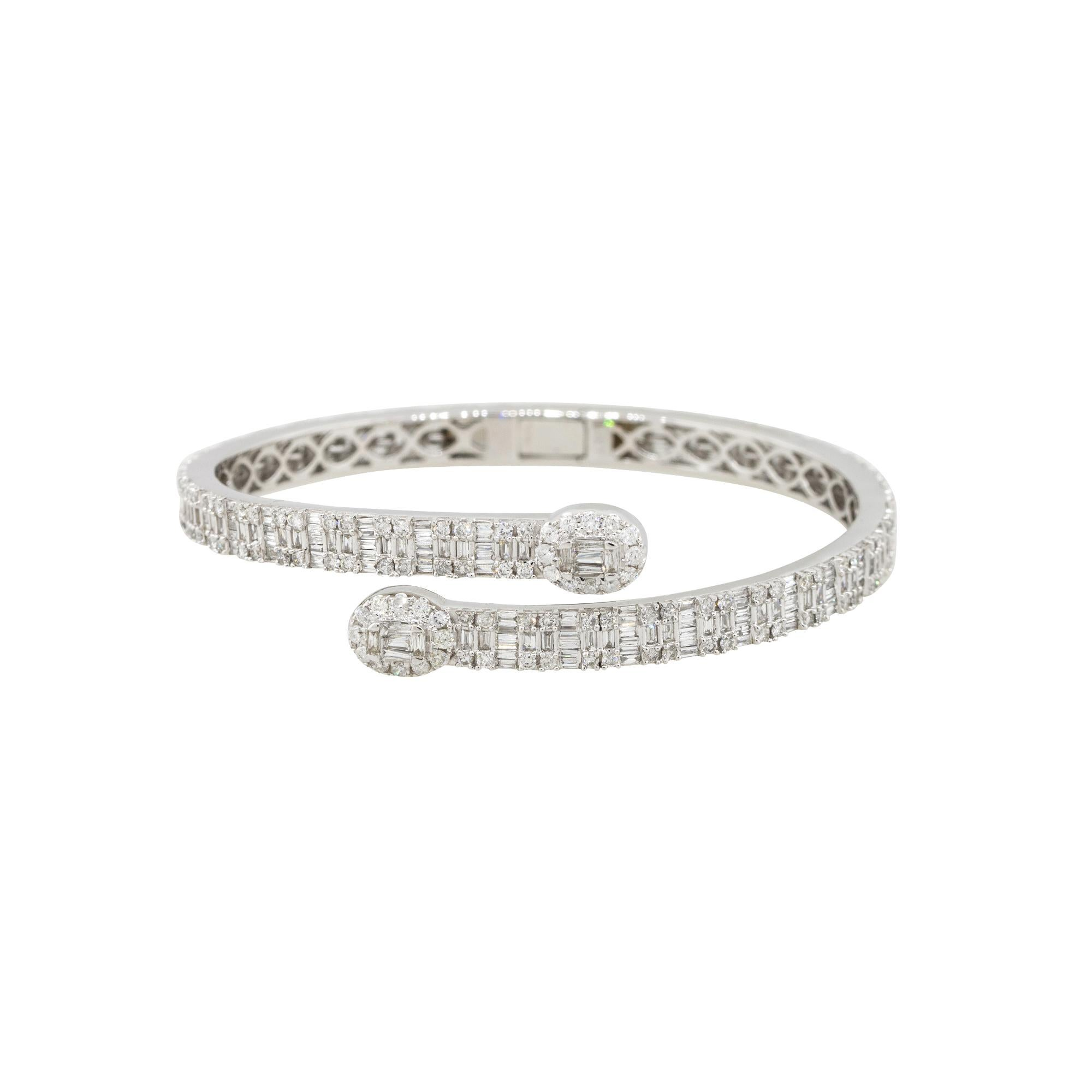 4.6 Carat Diamond Pave Open Cuff Bangle Bracelet 14 Karat in Stock