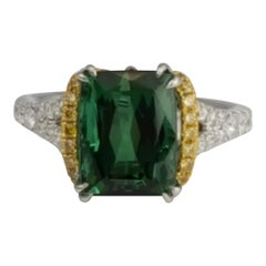4.6 Carat Emerald Cut Green Tourmaline and 0.55 Carat Diamond Ring in 18k Gold