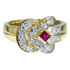 .46 Carat Natural Ruby Diamond Cluster Ring 14 Karat Sailor Knot Revisit