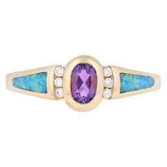 .46 Carat Oval Brilliant Amethyst, Opal, and Diamond Kabana Ring, 14 Karat Gold
