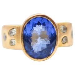 4.6 Carat Tanzanite Solitaire Yellow Diamonds Handmade 22K-21K Gold Bridal Ring
