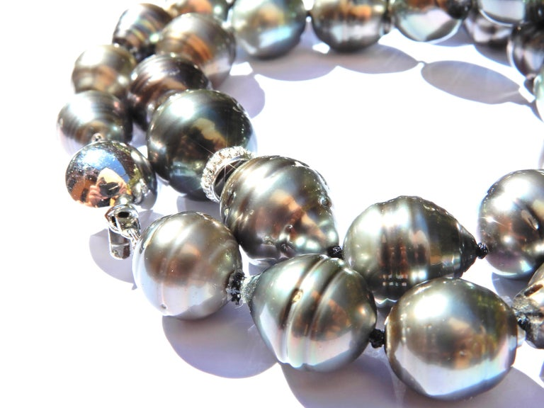 Bead Baroque Tahitian Pearl and Diamond 14 Carat White Gold Necklace For Sale