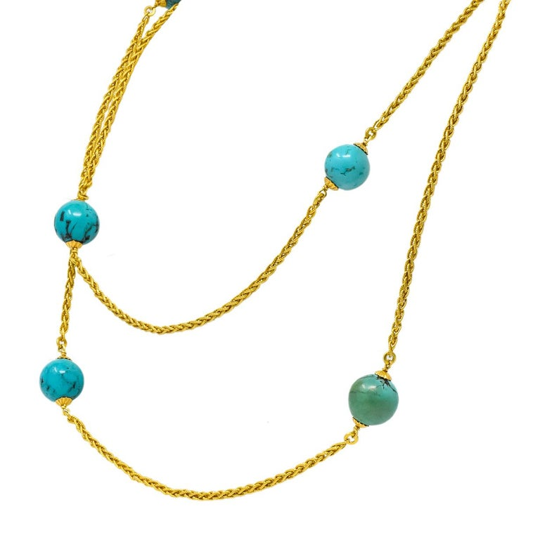 Late Victorian Turquoise Bead 18 Karat Gold Long Chain Necklace In Excellent Condition For Sale In Philadelphia, PA