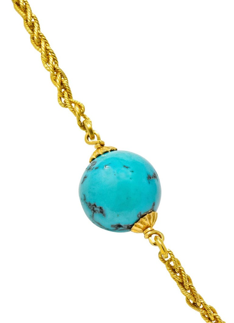 Women's or Men's Late Victorian Turquoise Bead 18 Karat Gold Long Chain Necklace For Sale