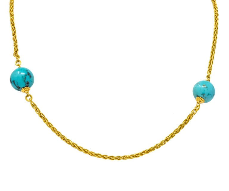Late Victorian Turquoise Bead 18 Karat Gold Long Chain Necklace For Sale 2