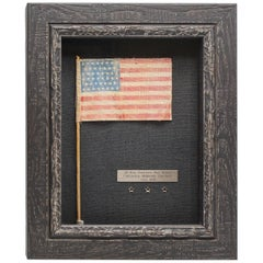 46-Star Antique American Flag Waver on Stick, circa 1908