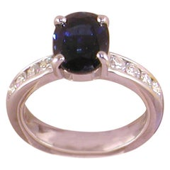 4.60 Carat 18 Karat White Gold Diamond Sapphire Engagement Ring
