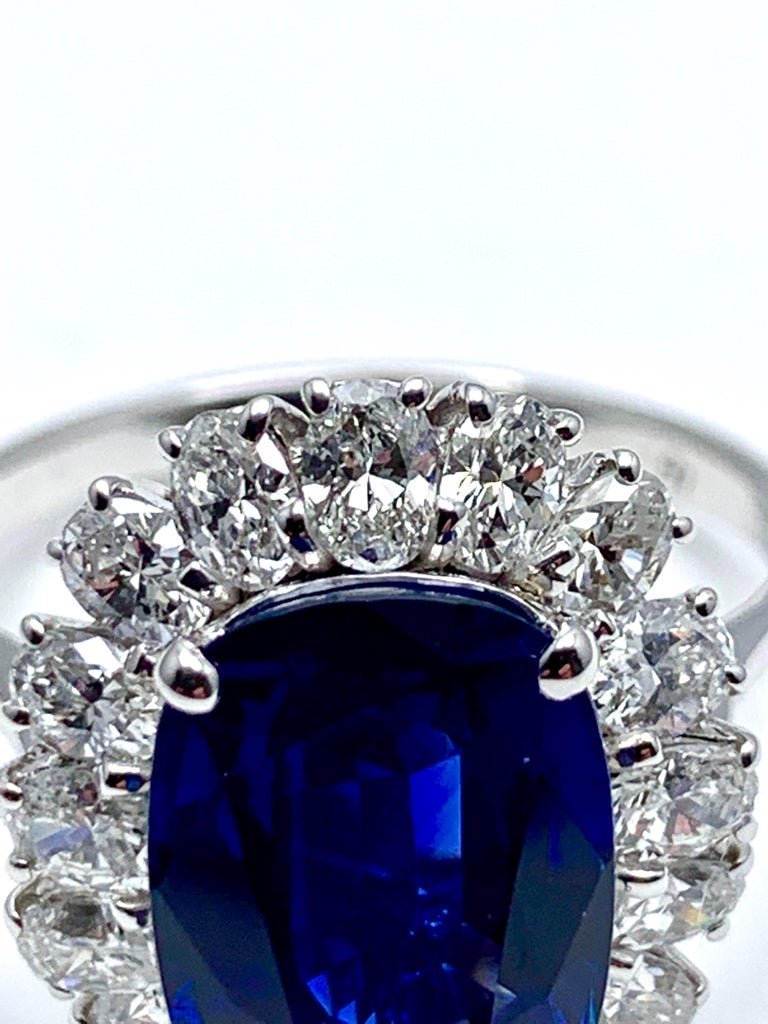 4.60 Carat Cushion Cut Sapphire and Oval Diamond Halo White Gold Cocktail Ring For Sale 5
