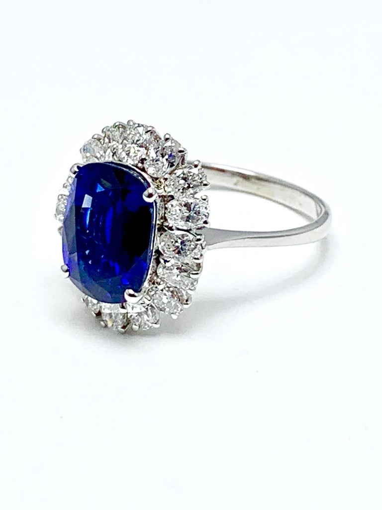 4.60 Carat Cushion Cut Sapphire and Oval Diamond Halo White Gold Cocktail Ring In Excellent Condition For Sale In Washington, DC