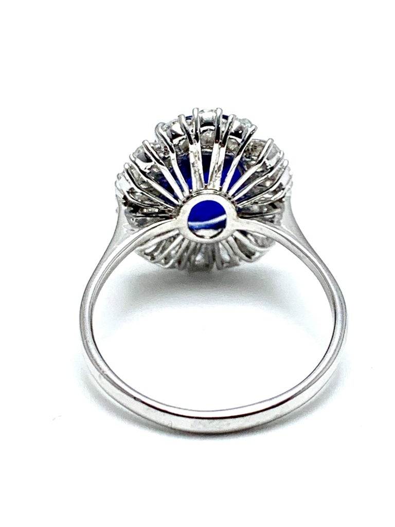 4.60 Carat Cushion Cut Sapphire and Oval Diamond Halo White Gold Cocktail Ring For Sale 2