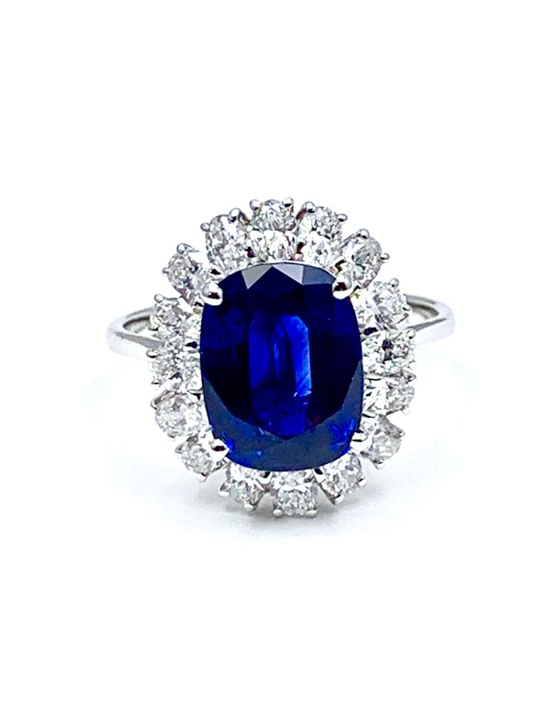 4.60 Carat Cushion Cut Sapphire and Oval Diamond Halo White Gold Cocktail Ring For Sale 4