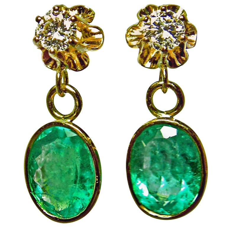 4.60 Carat Victorian Style Natural Colombian Emerald Diamond Drop Earrings 18K
