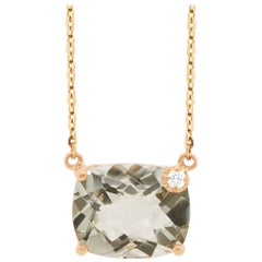 4.60 Carat Green Amethyst and Diamond Necklace