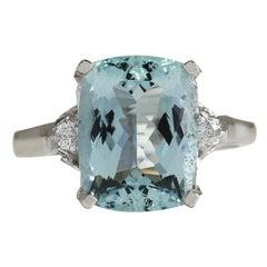 4.60 Carat Natural Aquamarine 18 Karat White Gold Diamond Ring