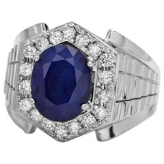 4.60 Carat Natural Diamond & Blue Sapphire 14 Karat Solid White Gold Men's Ring