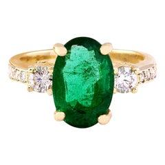 4.60 Carat Natural Emerald 18 Karat Solid Yellow Gold Diamond Ring