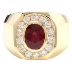4.60 Carat Natural Ruby and Diamond 14 Karat Solid Yellow Gold Men's Ring