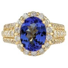 4.60 Carat Natural Tanzanite 18 Karat Yellow Gold Diamond Ring