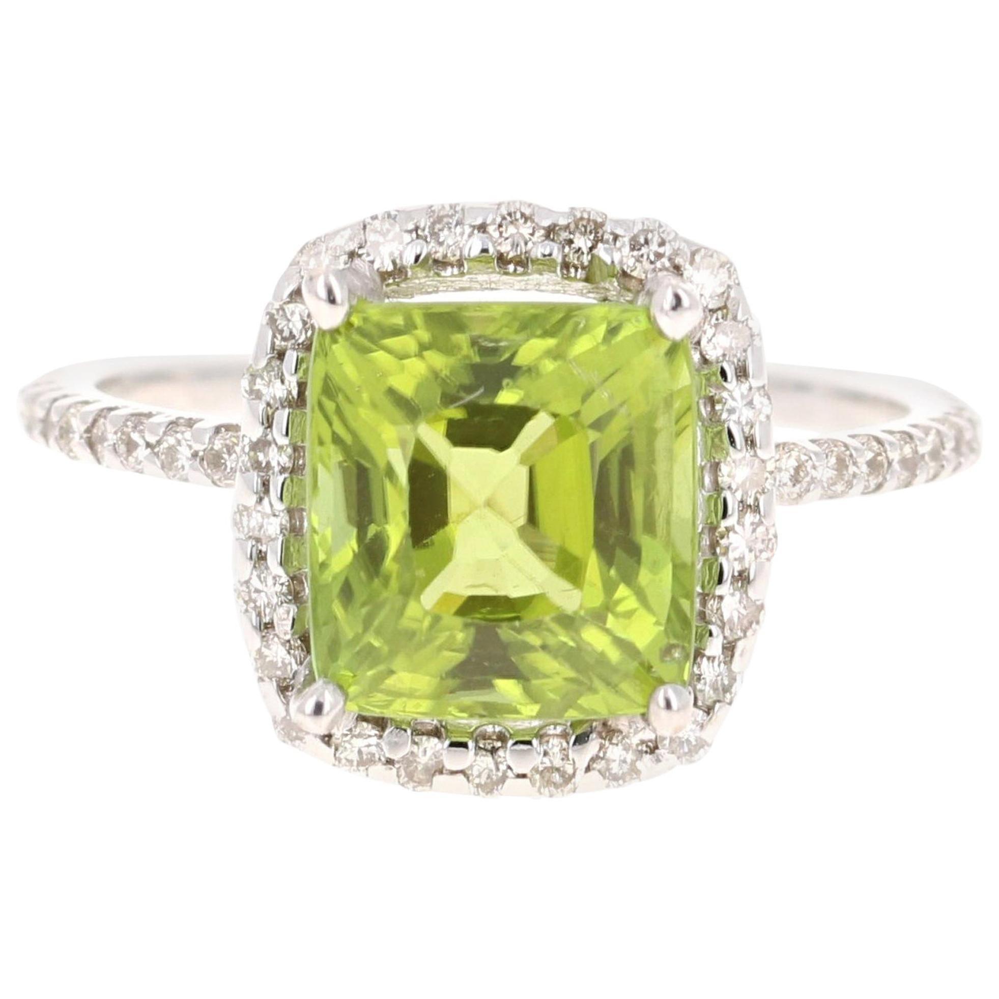 4.60 Carat Peridot Diamond Engagement 14 Karat White Gold Ring