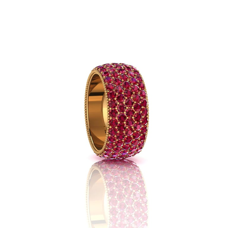 Wide red Ruby pave' ring, with a slightly dome feeling, a wrap of deep, bright red, for an approximate total carat weight of 4.60 carats, hand made in New York City with the best Italian craftsmanship, conceived in 18k yellow gold. Classic,