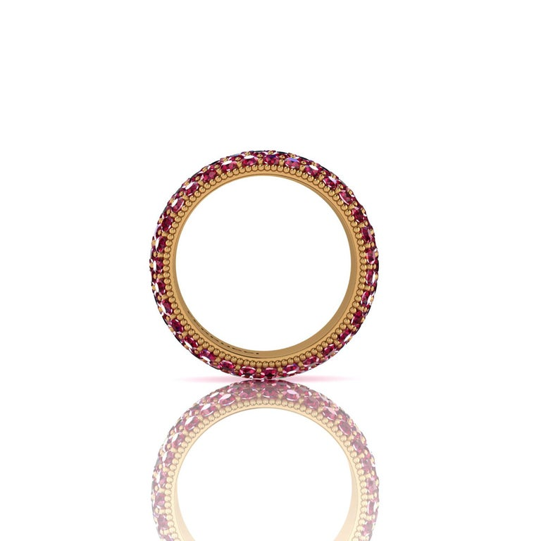 Modern 4.60 Carat Red Ruby wide band 18 Karat Yellow Gold For Sale