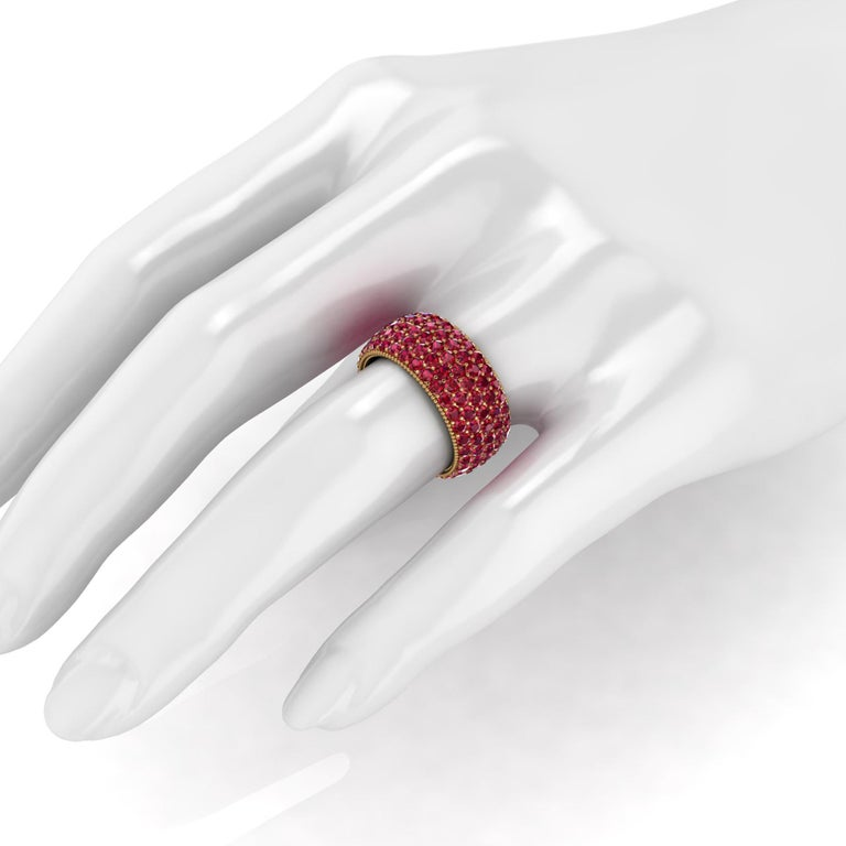 4.60 Carat Red Ruby wide band 18 Karat Yellow Gold In New Condition For Sale In Lake Peekskill, NY