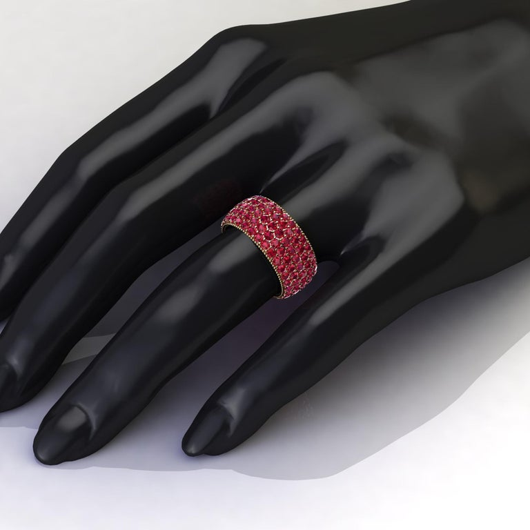 Women's or Men's 4.60 Carat Red Ruby wide band 18 Karat Yellow Gold For Sale