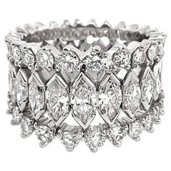 4.60 Carat Total Weight Marquise Diamond Eternity Band Platinum Ring