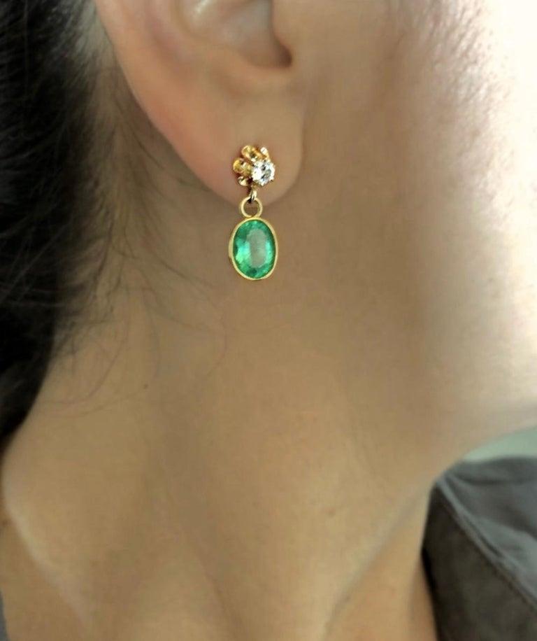Women's 4.60 Carat Victorian Style Natural Colombian Emerald Diamond Dangle Earrings 18K For Sale