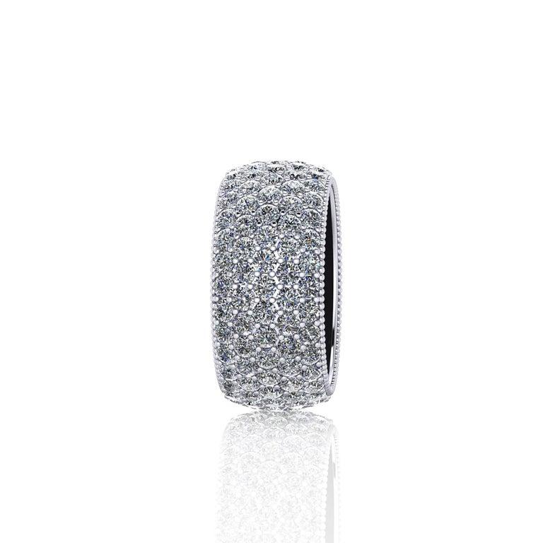 Modern 4.60 Carat Wide White Diamond Pavé Ring in 18 Karat White Gold For Sale
