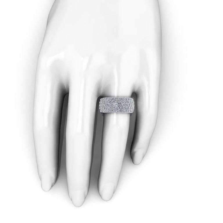 Round Cut 4.60 Carat Wide White Diamond Pavé Ring in 18 Karat White Gold For Sale