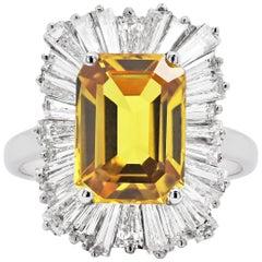 4.60 Carat Yellow Sapphire and Diamond Platinum Ballerina Cluster Ring