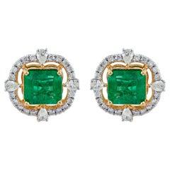 4.60 Carat Zambian Emerald Diamond 18 Karat Gold Stud Earrings