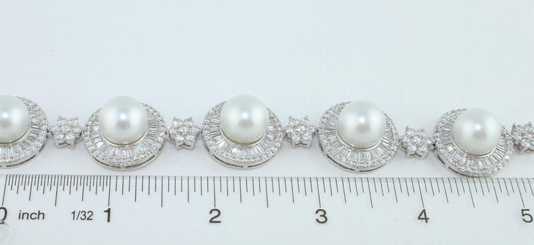 46.00 Carat Diamond and South Sea Pearl Gold Necklace Earrings Bracelet Set For Sale 10