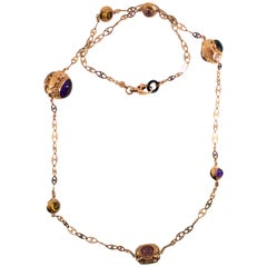 46.00 Carat Tourmaline Amethyst Citrine Ruby Onyx Yellow Gold Drop Necklace