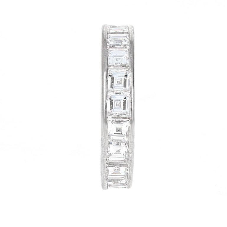 Modern 4.61 Carat Asscher Cut Diamond Engagement Eternity Band For Sale