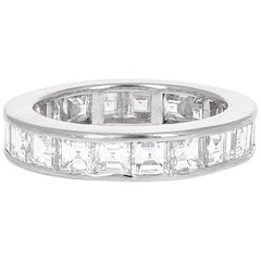 4.61 Carat Asscher Cut Diamond Engagement Eternity Band