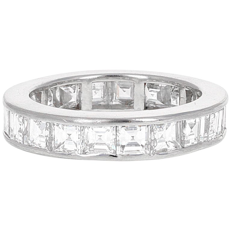 4.61 Carat Asscher Cut Diamond Engagement Eternity Band For Sale
