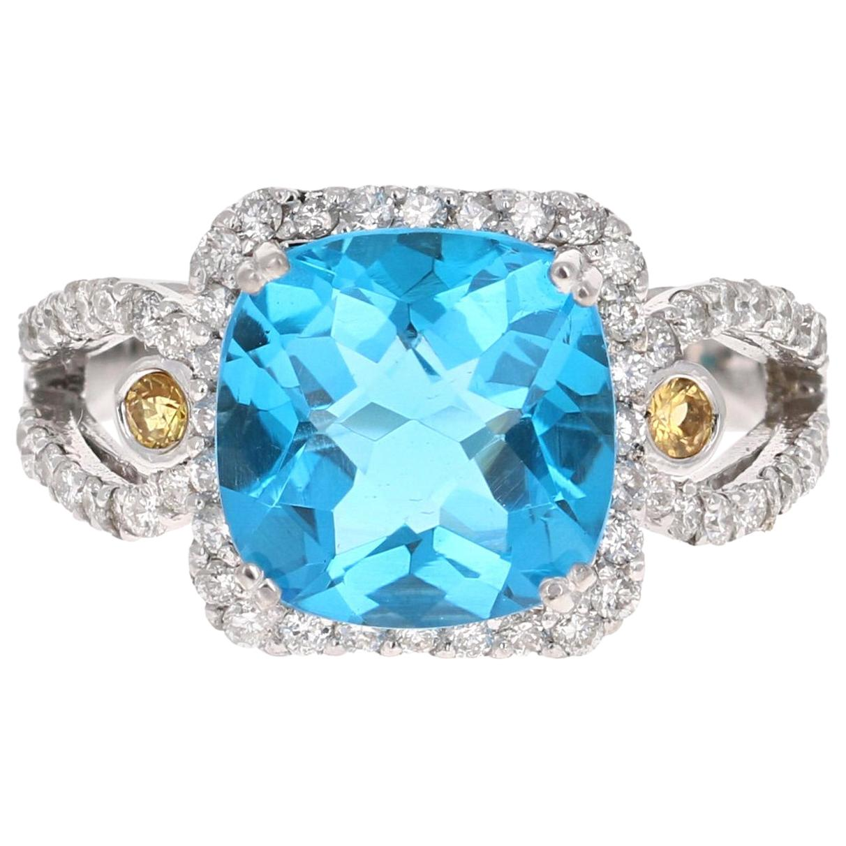 4.61 Carat Blue Topaz Sapphire Diamond White Gold Cocktail Ring