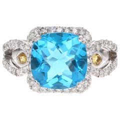 4.61 Carat Blue Topaz Sapphire Diamond White Gold Cocktail Ring
