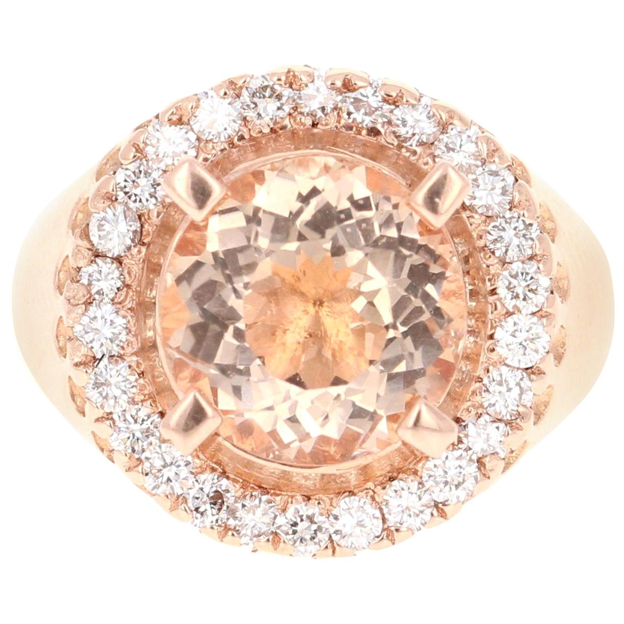 4.61 Carat Morganite Diamond 14 Karat Rose Gold Cocktail Ring
