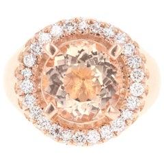 4.61 Carat Morganite Diamond 14 Karat Rose Gold Cocktail Ring