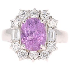 4.61 Carat Unheated Pink Sapphire Diamond 14 Karat White Gold Ring GIA Certified