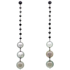 46.10 Carat Tahity Pearls with Black Diamond Beads Dangle Earrings