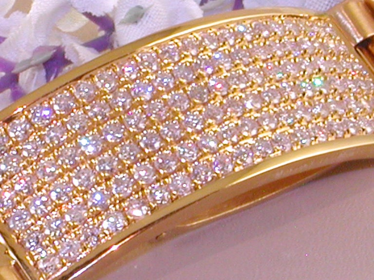 4.62 Carat 18 Karat Yellow Gold White Diamond Men's Bracelet In New Condition For Sale In Antwerp, BE