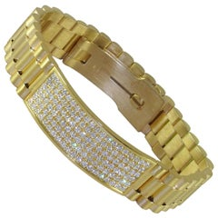 4.62 Carat 18 Karat Yellow Gold White Diamond Men's Bracelet