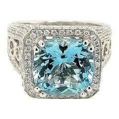 4.62 Carat Cushion Aquamarine and Diamond Ring