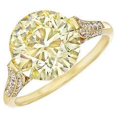 4.62 Carat Fancy Yellow Diamond Engagement Ring