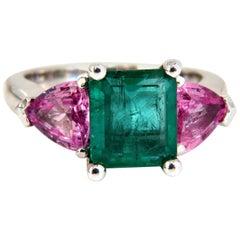 4.62 Carat Natural Emerald Pink Sapphire Ring Three-Stone Classic Three 14 Karat