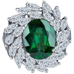 4.62 Carat Natural Green Sapphire with 2.75 Total Marquise Diamond Weight Ring